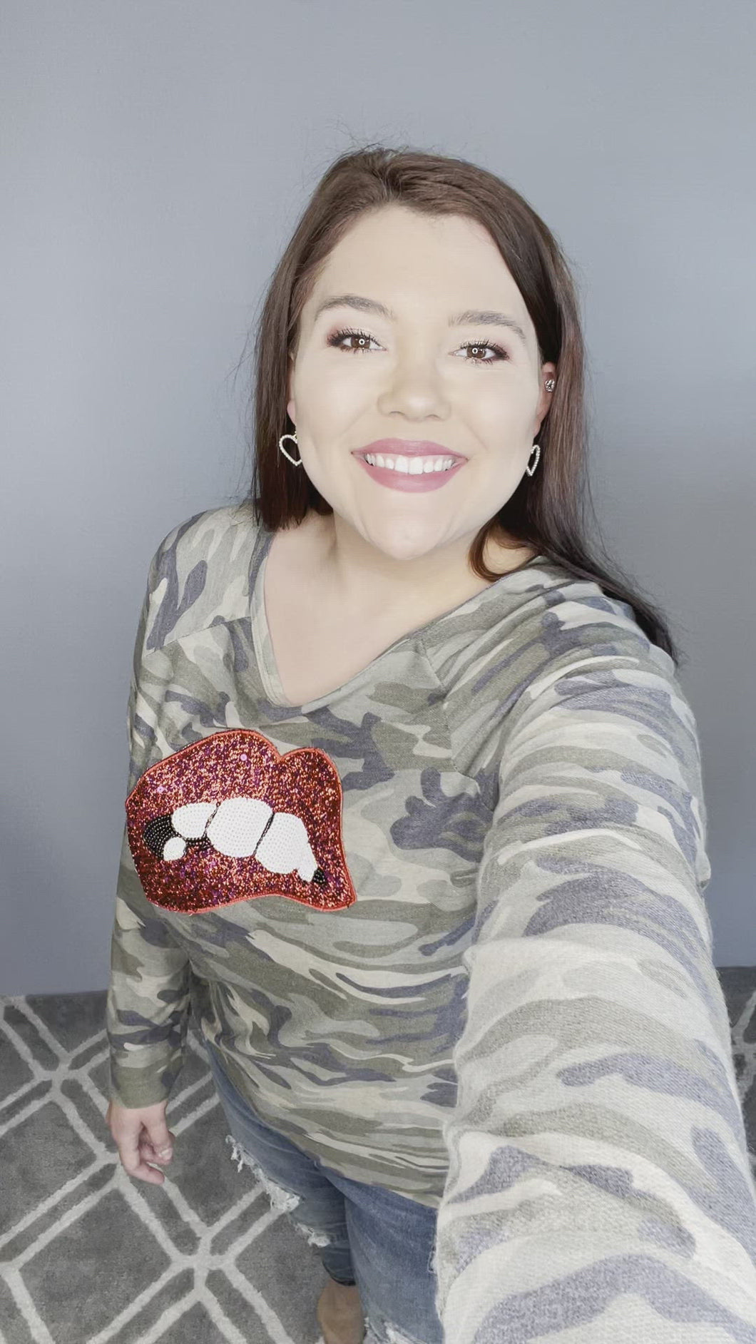 Camo Top with Red Lips Long Sleeve