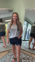 Load and play video in Gallery viewer, Dark Wash Distressed Mom Shorts