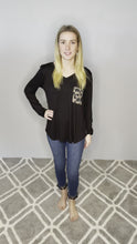 Load and play video in Gallery viewer, Black Long Sleeve Top with Animal Print Pocket and Back