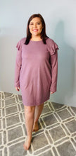 Load and play video in Gallery viewer, Lavender Long Sleeve Dress with Ruffle Shoulder