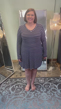 Load and play video in Gallery viewer, Navy Striped V-Neck Dress with Long Sleeves