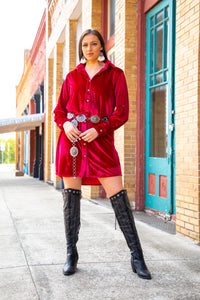 Red Velvet Long Sleeve Button Up Dress