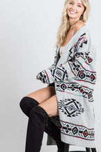 Load image into Gallery viewer, Long Gray Aztec Cardigan