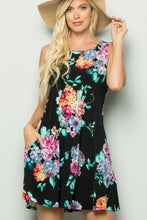 Load image into Gallery viewer, Black Floral Tank Dress
