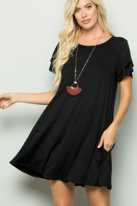 Black Short Sleeve Scoop Neck Dress