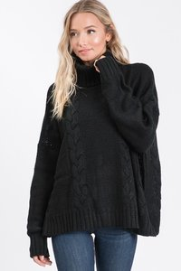 Black Oversized Sweater with high neck