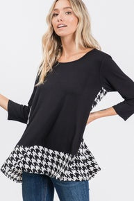 Black Long Sleeve Shirt with a Houndstooth print along the bottom and back