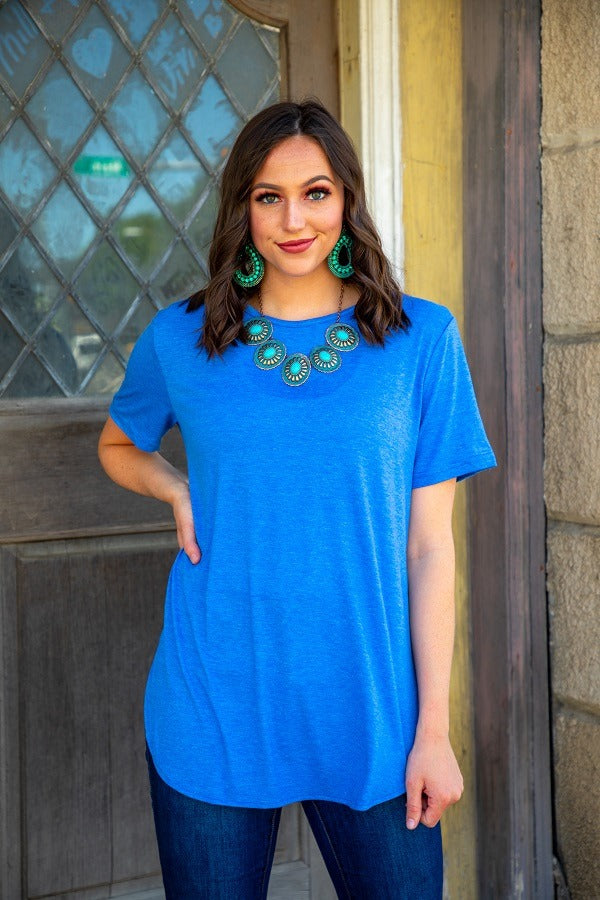 Heather Blue Basic Scoop Neck with Curved Hem and Side slits
