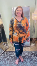 Load and play video in Gallery viewer, Black and Orange Tie Dye Long Sleeve V Neck