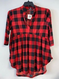 Buffalo Plaid Top with 3/4 Sleeves and V Neck