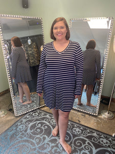 Navy Striped V-Neck Dress with Long Sleeves