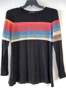 Black Long Sleeve Top with Rainbow Across Chest and Arms