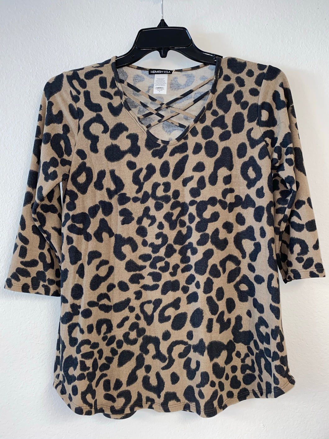Leopard Print V Neck with Criss Cross