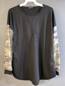 Black Top with Camo Long Sleeves