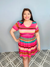 Load image into Gallery viewer, Dark pink/Green Striped Dress
