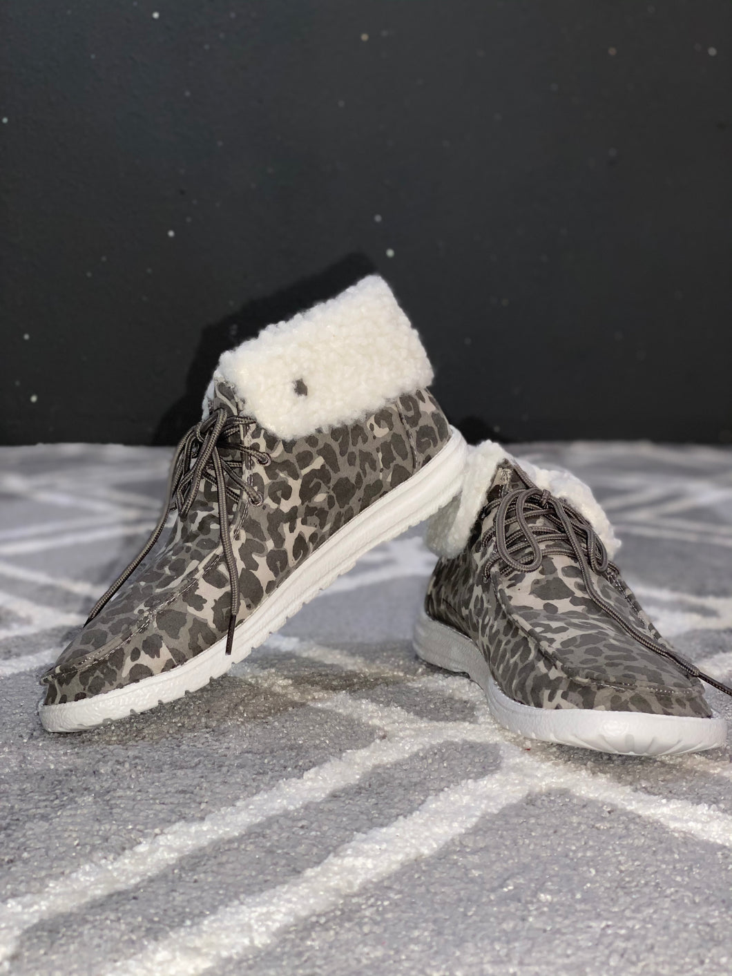 Odette Gray Animal Print Shoes