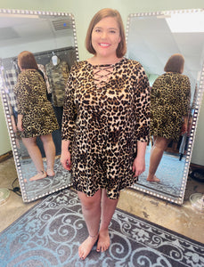 Animal Print Dress with Criss Cross Neck and 3/4 Sleeves