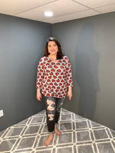 Load image into Gallery viewer, Heather Gray Shirt with Hearts and Criss Cross Neck