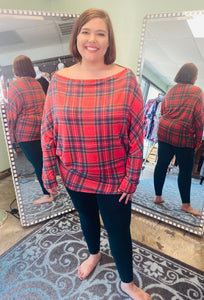 Red and Navy Plaid off the Shoulder Top