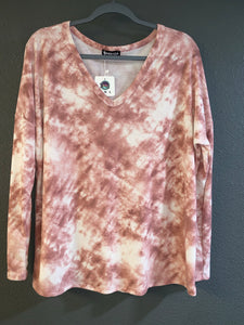 Mauve Long Sleeve Tie Dye Top