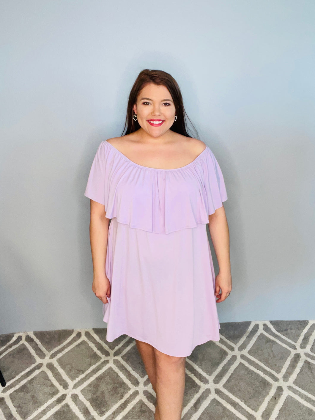 Lavender Off the Shoulder Dress