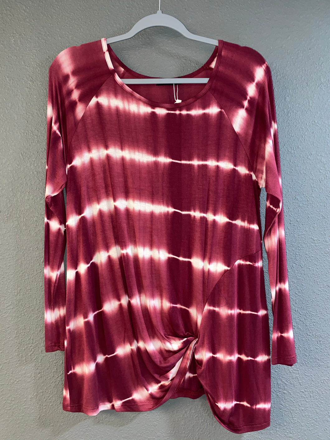 Burgundy Striped Long Sleeve Top
