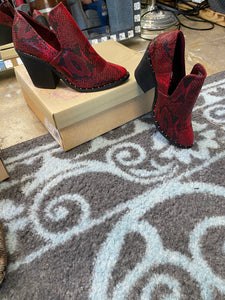 Deavan Red Animal Print Bootie