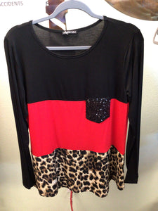 Red Color Block Top with Animal Print Bottom and Sequin Pocket Long Sleeve