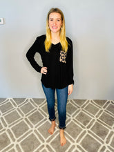 Load image into Gallery viewer, Black Long Sleeve Top with Animal Print Pocket and Back