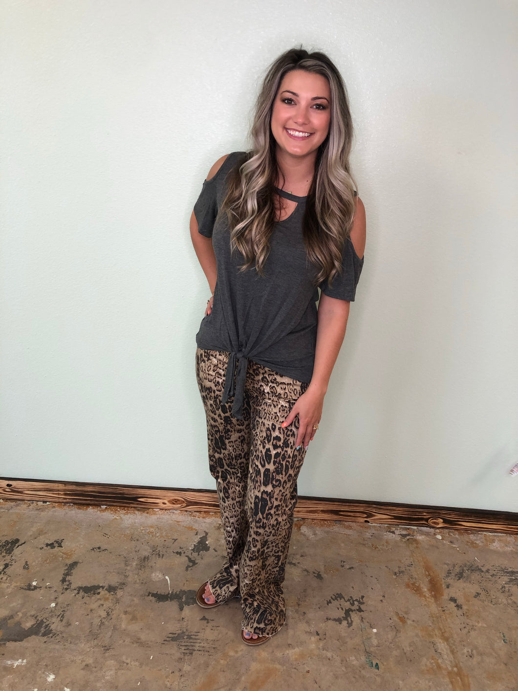 Animal Print Wide Leg Flare Jeans