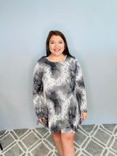 Load image into Gallery viewer, Black Tie Dye Long Sleeve Dress