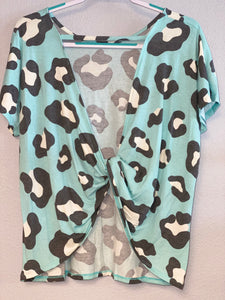 Mint Animal Print Open Back Short Sleeved Top
