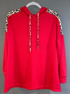 Red Sweatshirt with Leopard