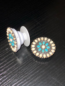 White Circle Pop Socket with Turquoise Flower Center