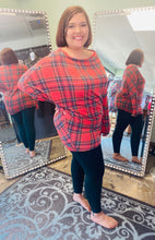 Load image into Gallery viewer, Red and Navy Plaid off the Shoulder Top