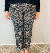 Load image into Gallery viewer, Black Animal Print Boyfriend Jeans with Frayed Hem