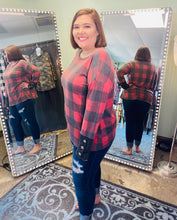 Load image into Gallery viewer, Long Sleeve Red Plaid with 3 Button Cuff