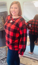 Load image into Gallery viewer, Long Sleeve Buffalo Plaid with Criss Cross V Neck