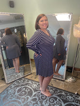 Load image into Gallery viewer, Navy Striped V-Neck Dress with Long Sleeves