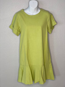 Green Dress with Ruffle Hem
