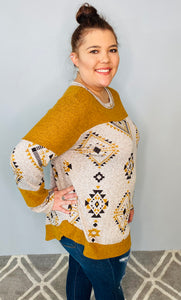 Mustard Aztec Print Long Sleeve Top