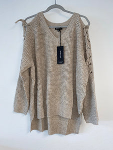 Taupe Sweater with Laced up Sleeve