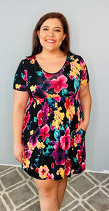 Black Floral Short Sleeve Dress