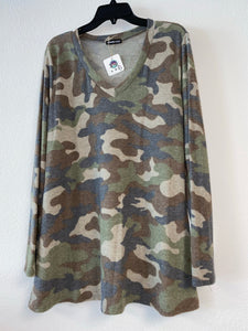 Camo Long Sleeve with V Neck