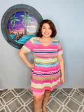 Load image into Gallery viewer, Pink and Yellow striped dress