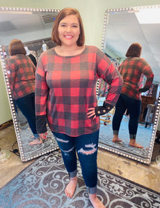 Long Sleeve Red Plaid with 3 Button Cuff
