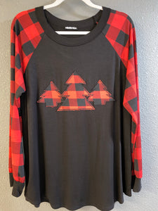 Black Top with Buffalo Plaid Long Sleeves