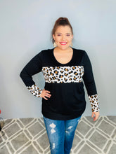 Load image into Gallery viewer, Black Long Sleeve Top with Animal Print Strip Across the Chest on and the Sleeve Cuff