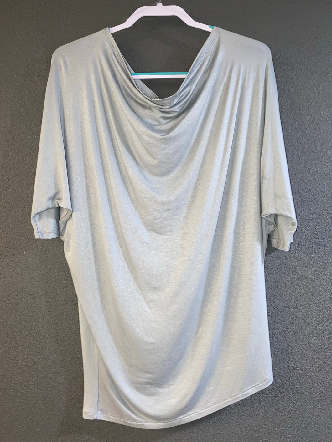 Dusty Mint off the shoulder tee