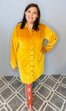 Load image into Gallery viewer, Mustard Velvet Long Sleeve Button Up Dress